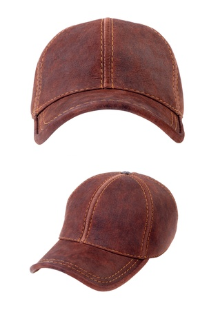 baseball hat: Brown leather baseball caps isolated on white background