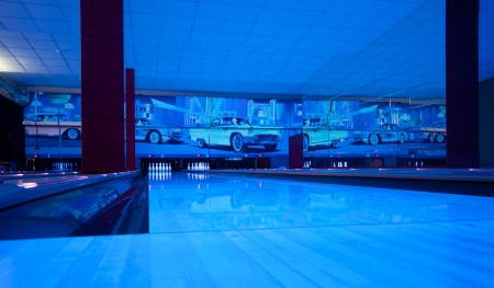 Interior of vintage bowling hall. Ultraviolet luminosity photo