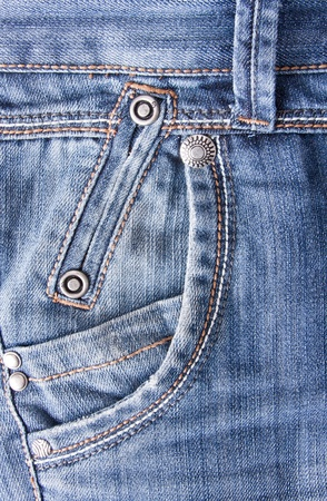 Close-up of blue jeans background with pocket photo