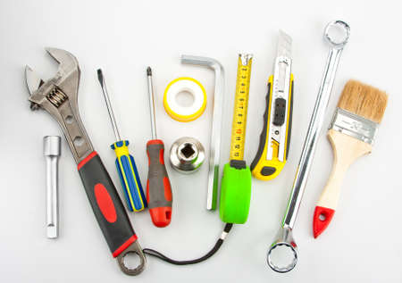 forkwrench: Many industrial tools. Wrench, spanner, screwdrivers, knife and other