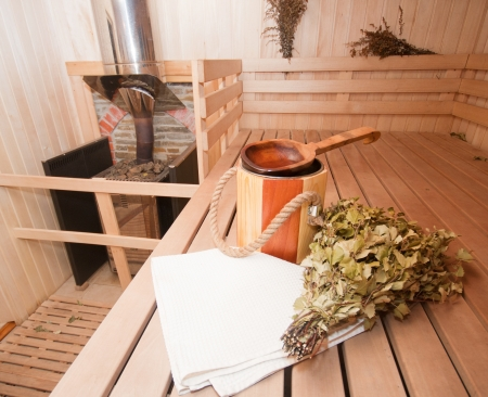 Finnish sauna interior and accessories photo