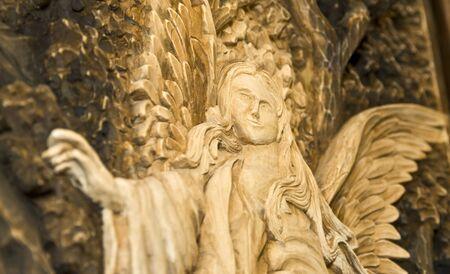 wood carving door: Wood engraving of angel