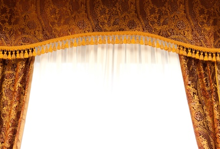 retro curtains with top panel and gold tassel stock photo 18399017 - Retro Curtains
