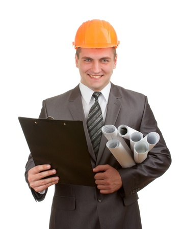 Smiling engineer in hardhat with plans and clipboard isolated on white photo