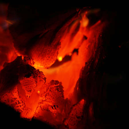embers: Glowing wood coals. Close-up view Stock Photo