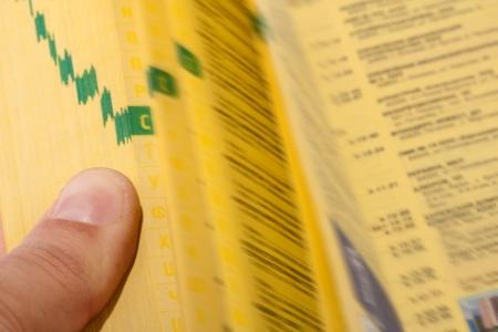 directorio telefonico: B�squeda manual de las p�ginas amarillas con el dedo �ndice