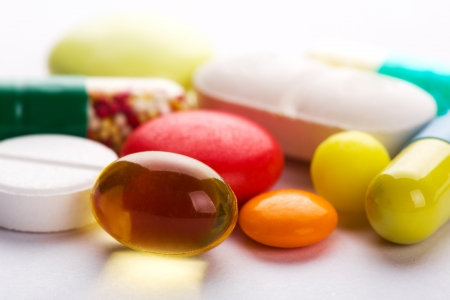 dragee: Set of different colorful pills Stock Photo