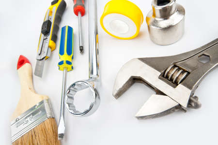forkwrench: Heap of tools. Brush, spanner, wrench, knife and other Stock Photo
