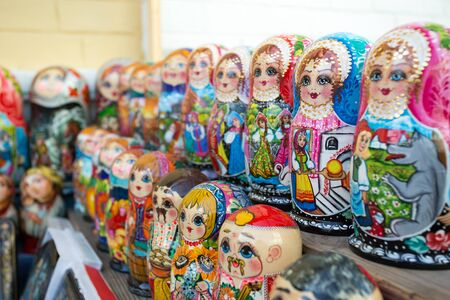 matroshka: Many colorful russian dolls in a rows Stock Photo