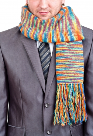 Businessman in formal grey suit and colorful scarf Stock Photo - 18442174