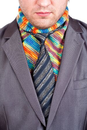 Businessman in formal grey suit and colorful scarf Stock Photo - 18442175