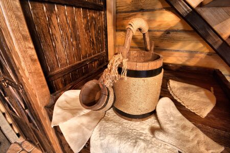 finnish: Finnish sauna accessories in a sweating room