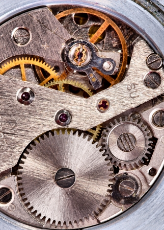clock gears: Close-up of old clock mechanism with gears