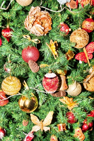 the color of silence: Christmas ornaments on a tree. Background or texture Stock Photo