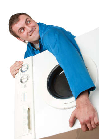Ominous thief holding stolen washing machine. Isolated on white Stock Photo - 18426940