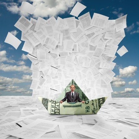 stack of documents: Scared businessman in money boat under huge wave of documents