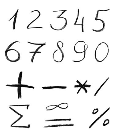 div: Pencil sketch of numbers isolated on white background