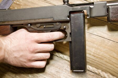45 caliber: Thompson gun. Ready for fight Stock Photo
