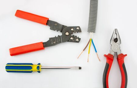 cable cutter: Electricians tools. Pliers, cable, cutter and screwdriver Stock Photo