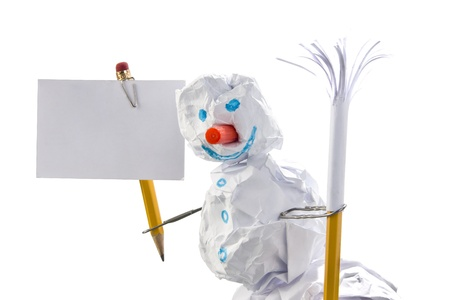Paper snowman with sign. Office jokes. Isolated on white photo