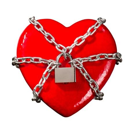 forbidden love: Red heart locked on padlock. Isolated Stock Photo
