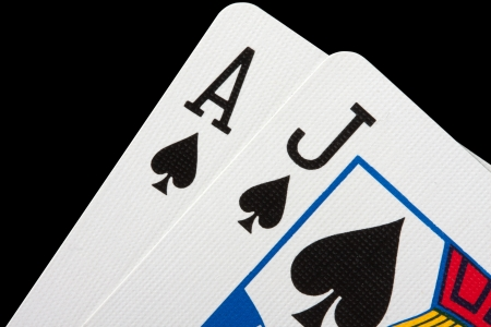 blackjack: Close-up of blackjack cards isolated on black