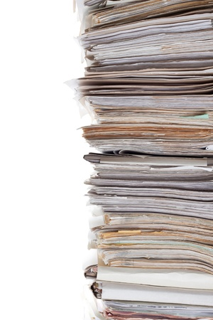Huge stack of papers isolated on white photo