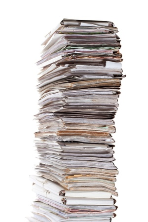 pile of paper: Huge stack of papers isolated on white