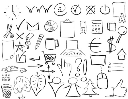 Pencil sketches of most popular business things. Isolated on white photo