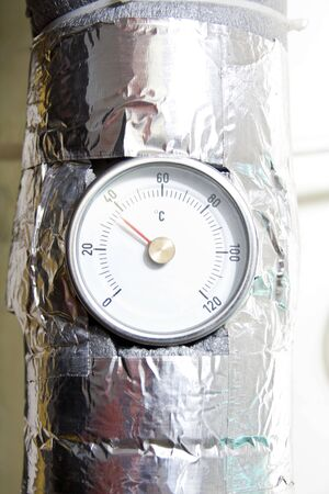 Industrial water temperature meter with pipe Stock Photo - 18561204
