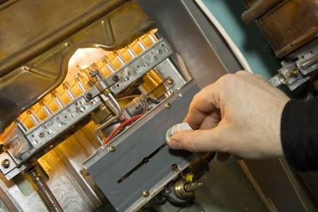 Gas boiler. Examination of equipment photo