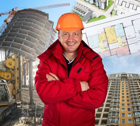 Happy worker against construction site, building and project Stock Photo - 18560996