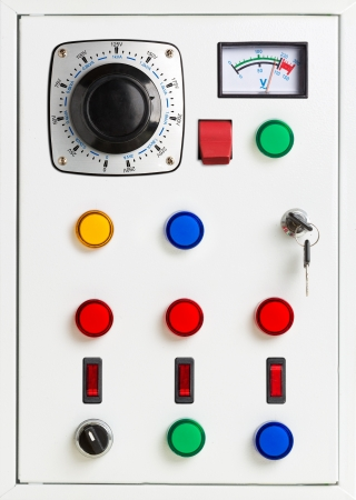 electrical panel: Control panel of an electrical switchgear cabinet Stock Photo