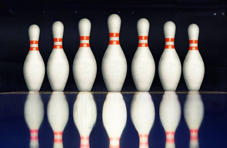 bowling alley: Bowling pins on an alley Stock Photo