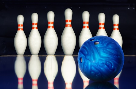 bowling alley: Bowling ball against ten pins