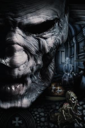 Retrato de hombre muerto oscuro con la viuda en el fondo