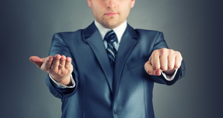 guess: Businessman with guess hand signs Stock Photo