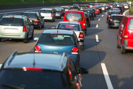 trapped: Traffic jam on a freeway Stock Photo