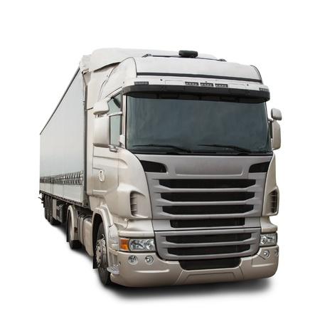 lorry: Camion del carico isolato su bianco