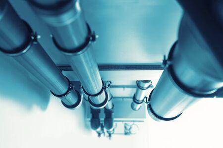 caños de agua: Pipelines - Sistema de abastecimiento de agua. Virada Foto de archivo
