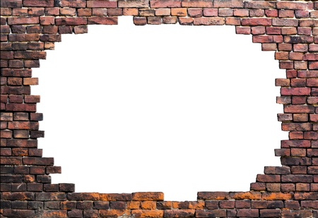 crack wall: Old brick wall isolated in center Stock Photo