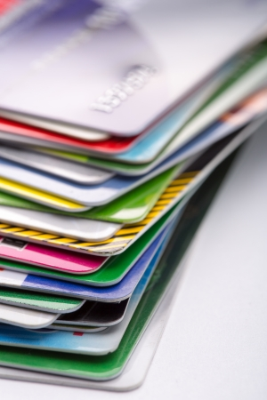 stack of business cards: Heap of colorful credit cards Stock Photo
