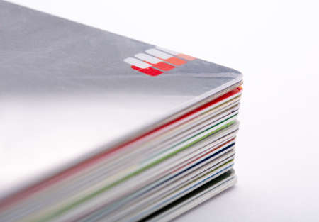 Stack of colorful credit cards photo
