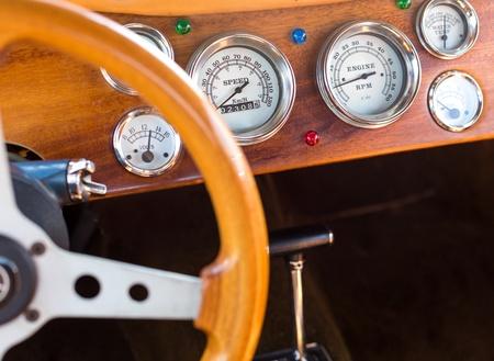antique car: Wooden interior of antique luxury car