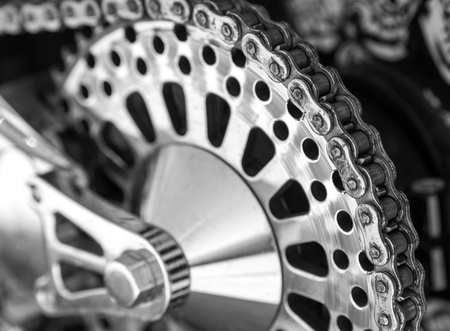 old motorcycle: Detail of a motorcycle rear chain Stock Photo