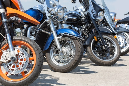 few: Row of few colorful motorcycles