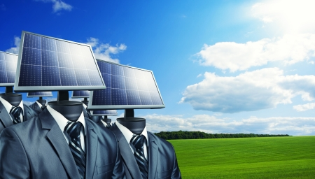 Businessmen with a solar panels instead of a heads photo