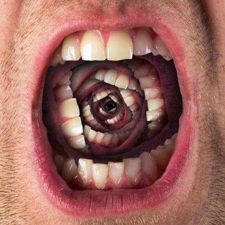 Man schreeuwen open mond met veel kaken