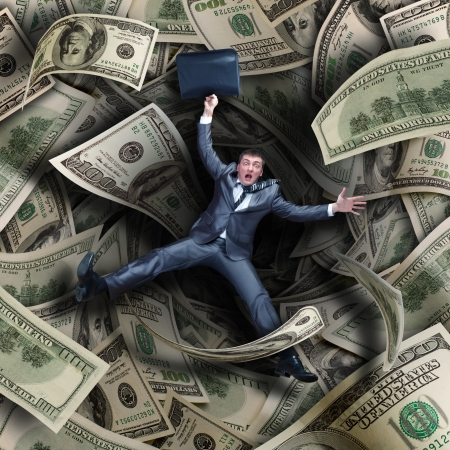 savings problems: Businessman falling into tunnel of $100 dollar bills