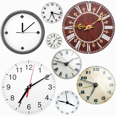 reloj antiguo: Colección de muchos reloj caras aisladas sobre fondo blanco Foto de archivo